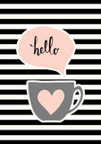 Cute Cup Poster Design. Cute coffee cup in gray and pastel pink on striped background with pink speech bubble Royalty Free Stock Image