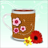 Cute cup in a sweater Royalty Free Stock Image