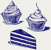 Cute cupcake. Doodle style. Vector Royalty Free Stock Photo