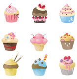 Cute cupcake with 9 different look. Design by vector Royalty Free Stock Photos