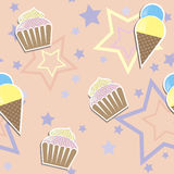 Cute cupcake ads ice cream seamless background Stock Photos