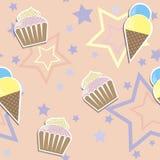 Cute cupcake ads ice cream seamless background Stock Photos