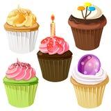 Cute cupcake birthday icon set. Food illustration, cupcake birthday icon set, additional in vector eps 10 Royalty Free Stock Photo