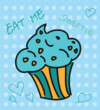 Cute cupcake with blue topping Royalty Free Stock Photos