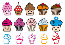 Cute cupcake designs, vector set. Cute cupcake designs with candle and heart, vector set Stock Photo