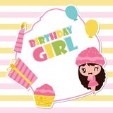 Cute cupcake girl with birthday candle and gift  cartoon illustration for Happy Birthday card design. Postcard, and wallpaper Stock Photo