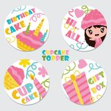 Cute cupcake girl, cake, candle, and gift box  cartoon illustration for Birthday cupcake topper set design. Postcard and sticker set Royalty Free Stock Images