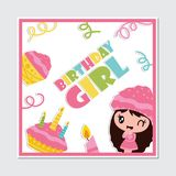 Cute cupcake girl, candle and birthday cake  cartoon illustration for Happy Birthday card design. Postcard, and wallpaper Stock Photos