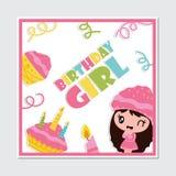 Cute cupcake girl, candle and birthday cake  cartoon illustration for Happy Birthday card design Stock Photos