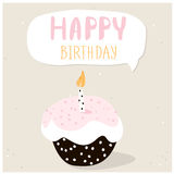 Cute cupcake with happy birthday wish. Greeting card template. Creative happy birthday background. Vector Illustration. Stock Photography