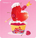 Cute Cupcake with Heart Royalty Free Stock Images