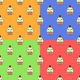 Cute cupcake kawaii character seamless set pattern with cherry and cute faces. Smiley blue cup cakes with cherry topping. Flat design  Illustration EPS Stock Images