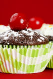Cute cupcake with maraschino cherry. Delicious chocolate cupcakes topped with powdered sugar and maraschino cherry, other desserts with frosting and candies at Stock Photos