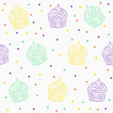 Cute cupcake pattern. Vector seamless pattern with cupcakes, pattern with muffins in light colors Stock Photos