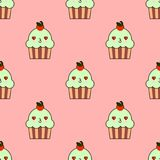 Cute cupcake seamless pattern with kawaii faces. Smiley cup cakes with charry topping. Flat design. Illustration Stock Images