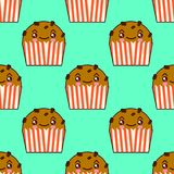 Cute cupcake seamless pattern with kawaii faces. Smiley cup cakes with charry topping. Flat design  Illustration. Cute cupcake seamless pattern with kawaii faces Stock Photography