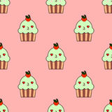 Cute cupcake seamless pattern with kawaii faces.   Stock Photo