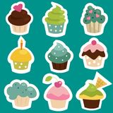 Cute cupcake stickers. Vector illustration royalty free illustration