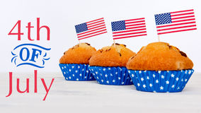 Cute cupcakes with american flag, 4th of July concept. Cute cupcakes with american flag on white background Royalty Free Stock Photo