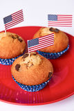 Cute cupcakes with american flag. On white background Royalty Free Stock Image