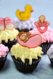 Cute cupcakes for a baby shower or christening Royalty Free Stock Images