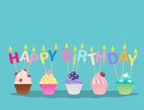Cute cupcakes with candles happy birthday celebration. Cute cupcakes with candles for happy birthday party celebration Royalty Free Stock Photography
