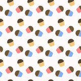 Cute cupcakes with chocolate chips. Seamless vector pattern. Endless texture can be used for wallpaper, pattern fills, web page, surface Stock Photography