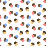 Cute cupcakes with chocolate chips. Seamless vector pattern. Endless texture can be used for wallpaper, pattern fills, web page, surface Stock Photos