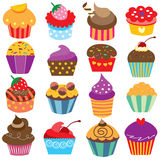 Cute cupcakes clip art set Royalty Free Stock Photo