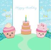 cute cupcakes  - Happy Birthday Card Stock Image