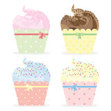 Cute Cupcakes Illustration Set. Illustration set of four cupcakes Royalty Free Stock Photos