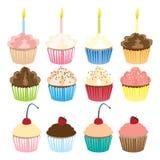 Cute Cupcakes Illustration Set. Illustration set of twelve cupcakes Stock Photo