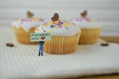 Cute cupcakes with love heart decorations and mothers day words stock photo