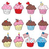 Cute cupcakes in many styles. 4th of July American Flag cupcake, Valentines Day cupcakes, birthday vector illustration