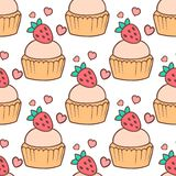 Cute cupcakes and muffins seamless pattern background. Cute cupcakes and muffins. Chocolate celebration birthday food. Sweet bakery party cute sprinkles vector illustration