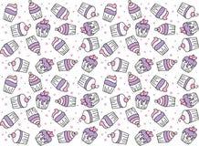 Cute Cupcakes Seamless Cute Vectors. Cute Cupcakes Royalty Free Stock Image