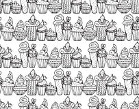 Cute cupcakes seamless pattern in vector. Endless decorative design background. Cute cupcakes seamless pattern in vector. Cake background. Cake vector. Cake Royalty Free Stock Photos