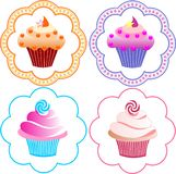 Cute cupcakes set. Fruit cakes on a white background Stock Photos