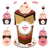 Cute cupcakes set Stock Photography
