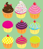 Cute Cupcakes. Vector illustration of Cute Cupcakes collection in many color Stock Image