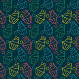 Cute cupcakes vector seamless pattern. Sweet holiday food background. Cute cupcakes vector seamless pattern. Sweet holiday food background Royalty Free Stock Photo