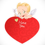 Cute cupid with a big red valentine card Stock Images