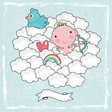 Cute cupid in the blue sky. Stock Photo