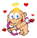 Cute cupid with bow and arrow flying Stock Images