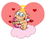 Cute Cupid With Bow And Arrow In Front Of A Heart Royalty Free Stock Image