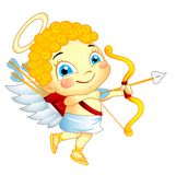 Cute Cupid. With bow and arrow isolated royalty free illustration