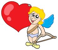 Cute cupid with bow and heart Royalty Free Stock Photos