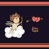 Cute cupid in the dark sky. Royalty Free Stock Image