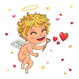 Cute Cupid. Excellent gift card for Valentine's Day Stock Photography