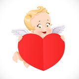 Cute Cupid flies with a big valentine heart shaped paper Stock Photography